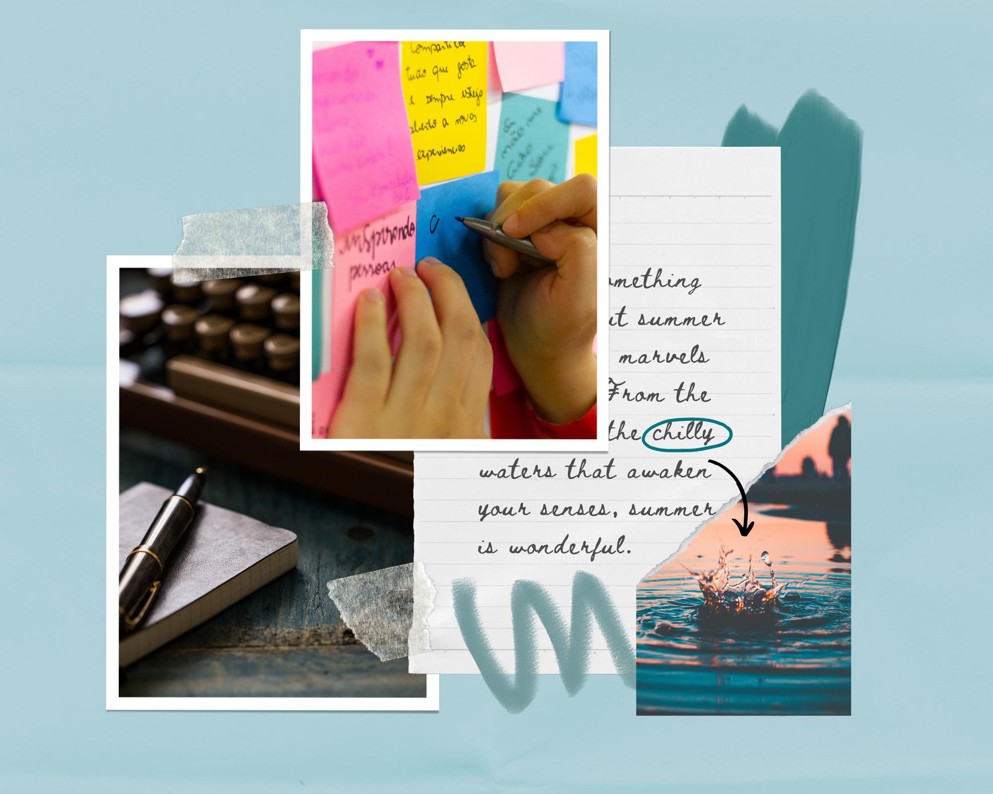 Mood board showing tips on how to write a novel