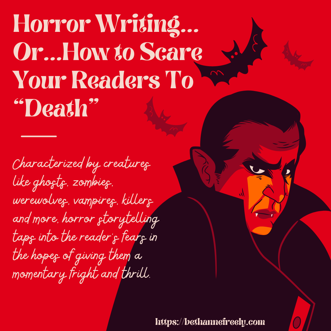 horror writing description with vampire graphic